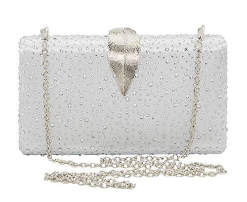 Sparkling Envelope Evening Clutch Purse for Women Vandysi Elegant Crystal Bag with Leaf Clasp for Wedding Party Silver