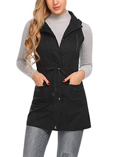 Zeagoo Women's Lightweight Sleeveless Stretchy Drawstring Jacket Vest With Zipper,Black,XL