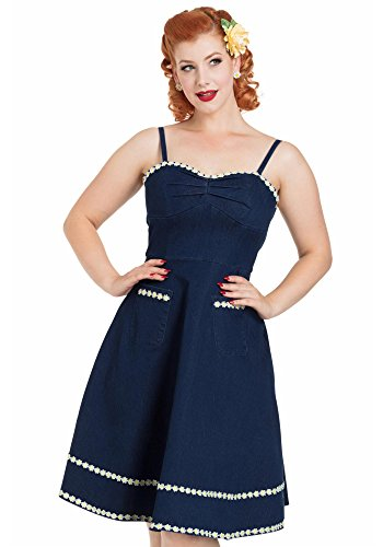 Voodoo Vixen Daisy May Denim Women's 1950's Inspired Flower Trim A-Line Dress (Medium, Denim)