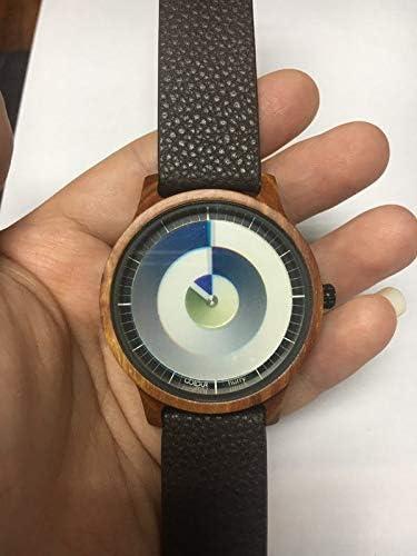 Rainbow Watch - Cool Wood red sandelwood Hurry - Montre Mixte - Quartz - Bracelet en cuir véritable - Marron foncé