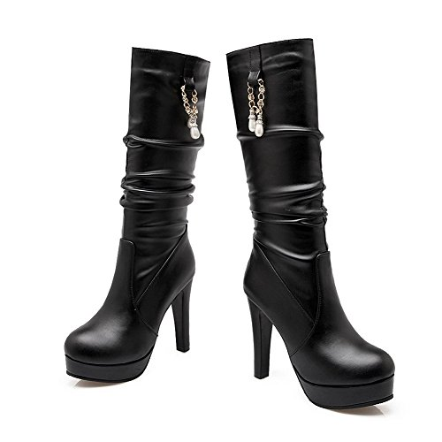 Toe Closed AmoonyFashion Boots Round Black Heels Women's Top Solid Mid High wpqHtCqEx