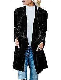 Women's Long Sleeve Open Front Velvet Coat Fashion Ladies Cardigan Jacket with Pockets