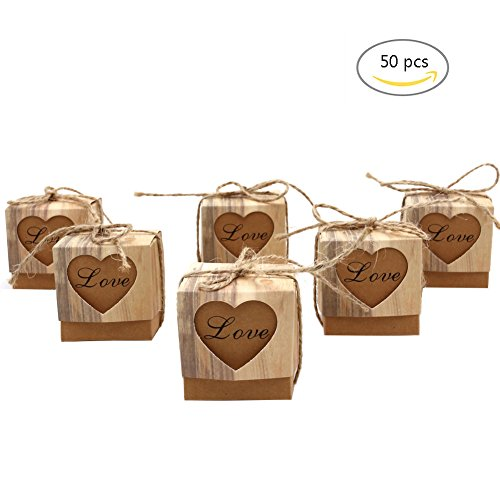 50pcs Party Favor Candy Boxes, Love Rustic Kraft Gift Boxes With Burlap Twine for Wedding, Birthday Party, Baby Shower (Shower Party Gift Favor)