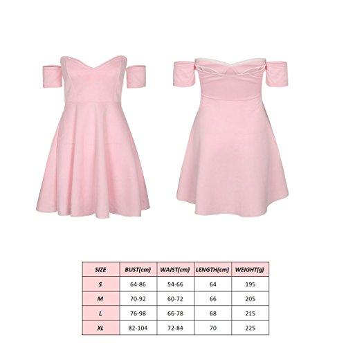 Giornaliera A Mini Rosa Vestito Dress Dalla Donne Con Notevole V Le Solido Scollo Oscillazione Summer Fuori Providethebest Spalla ybfvY67g