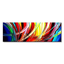 Seekland Art Handmade Acrylic Painting Abstract Canvas Wall Art Modern Contemporary Artwork for Home Decoration (Framed 48 W x 16 H)