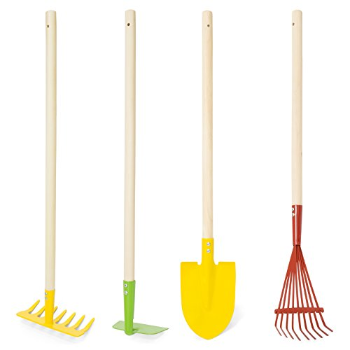 Best Choice Products 4-Piece Kids Garden Tools Set w/ Rake, Shovel, Hoe and Leaf (Child Size Tools)