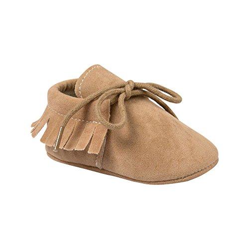 ESHOO Lovely de primera Walking zapatos de borla borla de zapatillas para bebé Prewalker Dark Coffee Talla:0-6 meses caqui
