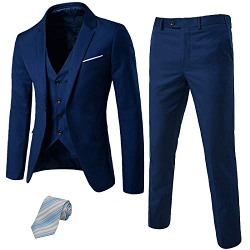 MY'S Men's 3 Piece Suit Blazer Slim Fit One Button Notch Lapel Dress Business Wedding Party Jacket Vest Pants & Tie Set Deep Blue