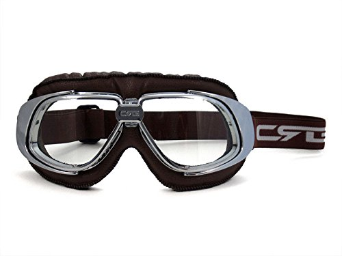 Transparent Frame Silver (CRG Sports Vintage Aviator Pilot Style Motorcycle Cruiser Scooter Goggle T10 T10SCN Transparent lens, silver frame, dark brown padding)