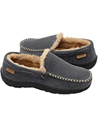 Men's Wool Microsuede Moccasin Slippers Memory Foam House Shoes with Indoor Outdoor Nonslip Sole