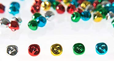 Yookat 300Pcs Craft Bells Jingle Christmas Bells Mini Jingle Bell Colorful DIY Bells with 164ft Colorful Cords for Party Festival and Christmas Decoration