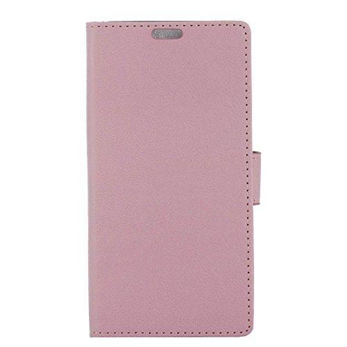 AICEDA BQ Aquaris V Case,[ Shock Absorbent ] Flap PU Leather Kickstand Wallet Cover Durable Flip Case for BQ Aquaris V Pink