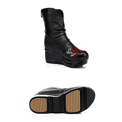 Noche Vestido Fiesta Mujer Bordado De Negro Zapatos Y Altas Casual Primavera Para Cuero Rodilla Botas Otoño Boda Tacones Yan 67gwq4aq
