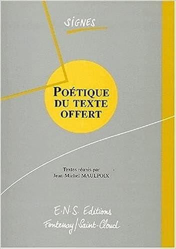 En ligne Poétique du texte offert pdf