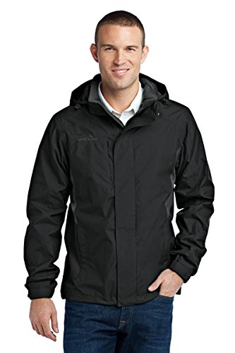 Eddie Bauer - Rain Jacket, Black/Steel Grey, Large - Grey Steel Rain Jacket
