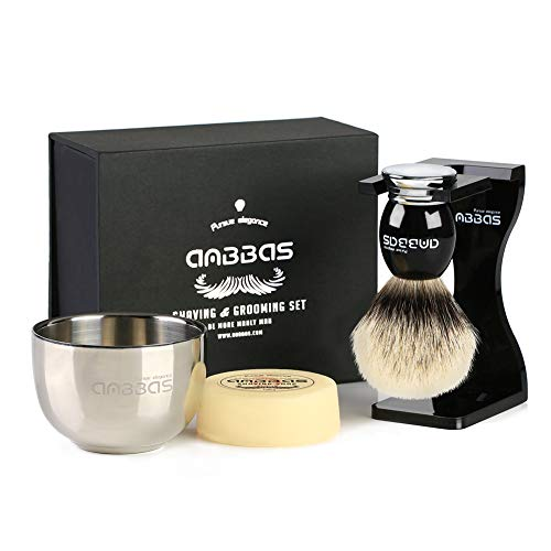 Anbbas Shaving Set,Silver tip Badger Shaving Brush Resin Alloy Handle,Black Acrylic Shaving Stand and Bowl Stainless Steel with 100g Natural Shaving Soap 4in1 Kit for Men