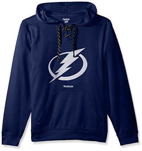 NHL Tampa Bay Lightning Adult Men Team Crest Performance Fleece Hockey Hood,Large,Dark Blue