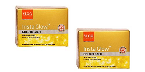 2 x VLCC Insta Glow Gold Bleach With Gold Oxide - Glowing, Radiant Fairness - 30g (Best Face Pack In India)