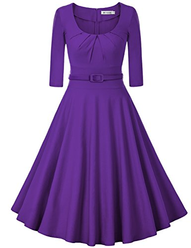 MUXXN Women's Retro 1940s 2/3 Sleeve Tie Waist Wedding Tea Dress (XL Purple) (Purple Dress Clubwear)