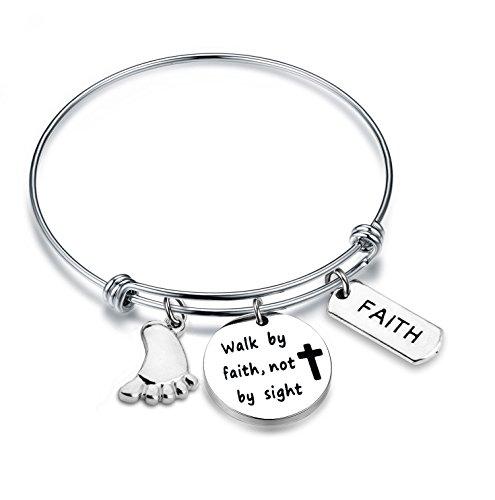 Bible Verses Teachers - Zuo Bao Faith Bracelet Walk By Faith Not By Sight Bible Verse Bracelet Christian Jewelry (Silver)