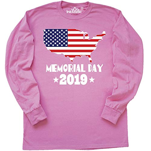 inktastic - 2019 Memorial Day Flag Long Sleeve T-Shirt Medium Azalea 3374a (Azalea Apparel)