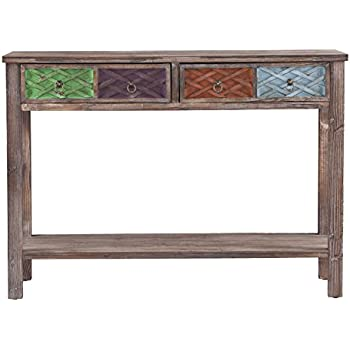 SEI Southern Enterprises Dharma Console Table, White Washed Weathered Fir  With Multicolor Finishes