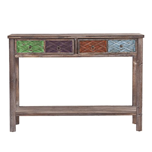 Southern Enterprises Dharma Console Table, White Washed Weathered Fir with Multicolor Finishes - Distressed Natural