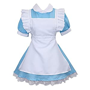 Colorful House Women's Cosplay Outfit Blue Maid Fancy Dress Costume
