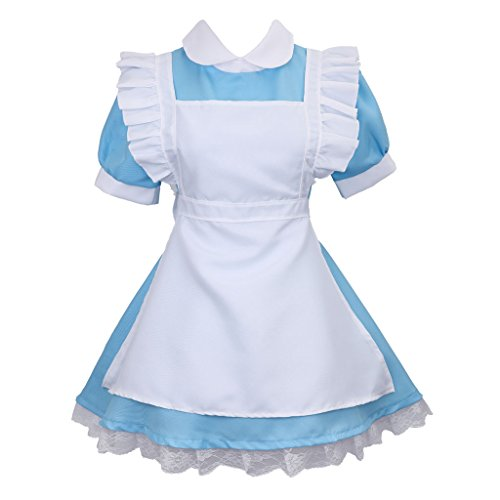Colorful House Women's Cosplay Outfit Blue Dress Maid Fancy Dress Costume (Large, Blue (Style 1)) (Dress Wonderland Alice In Pink)