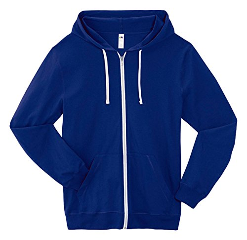 Fruit of the Loom Men's Jersey Full-Zip Hood, Admiral Blue, (Fruits Of The Loom Sweater)