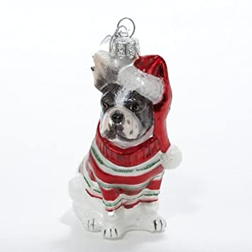 Amazon.com: Kurt Adler Noble Gems French Bulldog Glass Christmas ...