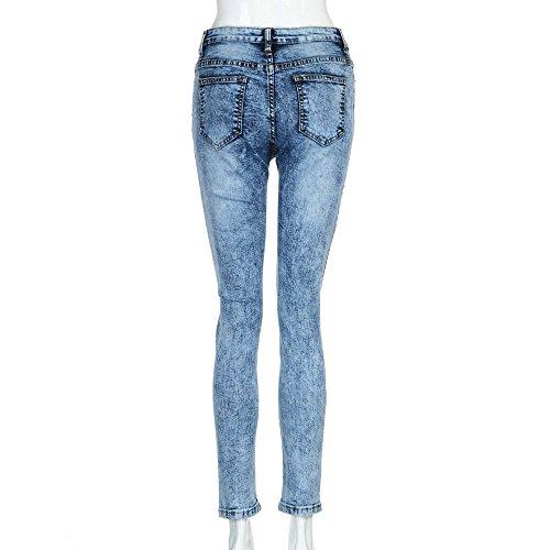 Mid Jeans Jeans Trou Casual Pantalon OHQ Bleu Long Pantalons Denim Denim Femmes Slim Skinny Mme Taille Lasticit Slim En Jeans 5v7qqw