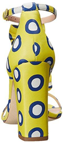 Boutique Moschino Womens Polka Dot Ruche Hak Jurk Pomp Geel