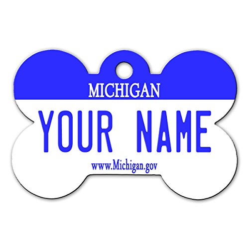 BleuReign(TM) Personalized Custom Name Michigan State License Plate Bone Shaped Metal Pet ID Tag with Contact Information