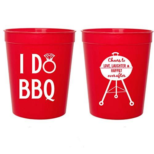 I Do BBQ, Wedding Shower, Red Plastic Stadium Cups (10 cups)