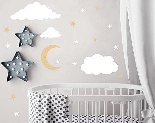 (Easu Clouds Sky Wall Vinyl Wall Decals Moon and Stars Wall Decal Kids Baby Room Decoration Good Night Nursery Wall Decor)