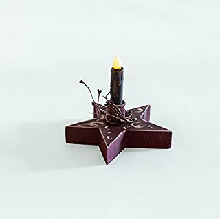 product image for Primitive Country Decorative Lighted Chunky Star with Candle Amish Made USA-Golden Oak