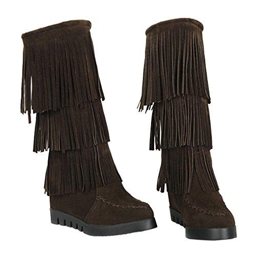 YE Women Wedges Heels Mid Heel Nubuck Leather Mid Calf Autumn Winter Boots with Fringe Brown qUoxlmnopI