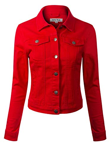 Design by Olivia Women's Solid Button Down Long Sleeve Classic Outerwear Cropped Denim Jacket Red M