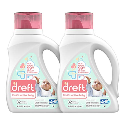 (Dreft Stage 2: Active Hypoallergenic Liquid Baby Laundry Detergent for Baby, Newborn, or Infant, 50 Ounces(32 Loads), 2 Count (Packaging May Vary))