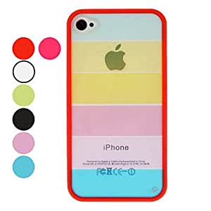 Transparent Rainbow Style TPU Frame Hard Case with Screen Guard and Cleaning Cloth for iPhone 4/4S (Optional Colors) --- COLOR:Blue