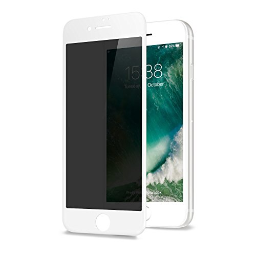 GLASS-M Privacy Screen Protector for iPhone 6s Plus/iPhone 6 Plus, Anti-spy Edge to Edge Full Cover Tempered Glass, Anti-Fingerprint 9H Hardness Case Friendly Premium Protection Shield - White]()