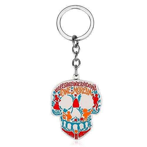 (Algol - Movie Coco Skull Skeleton Keychain Film Llavero Keyring for Women Men Car Key Jewelry Gift)
