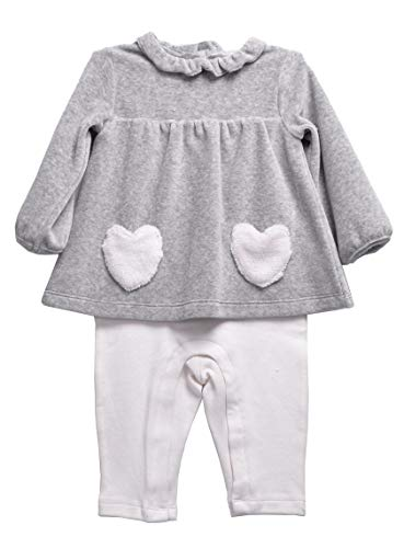(For Beloved Children Newborn Infant Baby Girls Cotton Long Sleeve 2pcs Legging Playwear Pant Sets Outfits (6 Months, Grey/White A65))