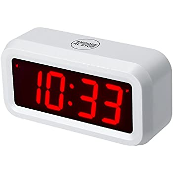 ChaoRong Small Wall/Shelf/Desk Digital Alarm Clock Battery Operated Only,Can running more than one year with batteries (White)