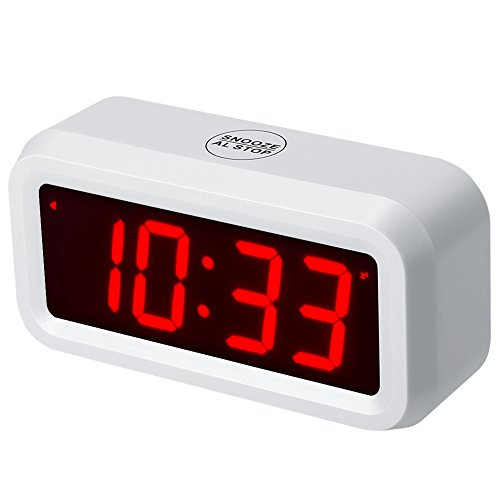 Timegyro Small Wall/Shelf/Desk Digital Alarm Clock Battery Operated Only,Can Running More Than one Year with Batteries (White)