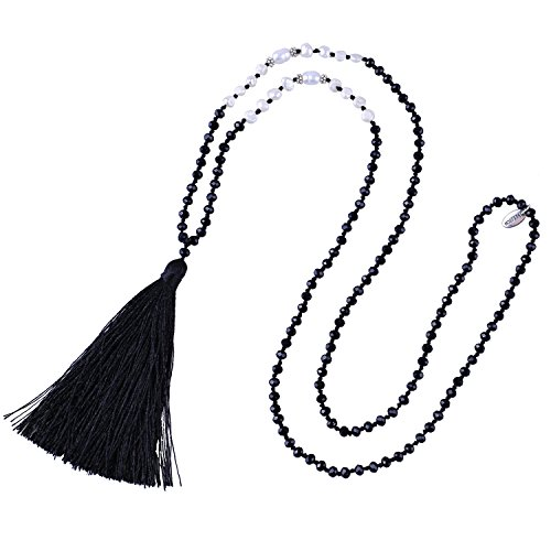 KELITCH Freshwater Pearls Crystal Beaded Necklace Handmade Long Tassels Pendants Charm Jewelry for Women (Black D) (Handmade Necklace Beaded)