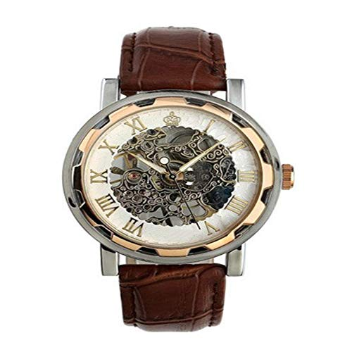 BEWITCHYU Practical Wristwatches Watch Retro Hollow Machinery Manual Mechanical Watch Men 's Belt Watch Calibration Small Circle Men Watch Decorative Watch Bracelet
