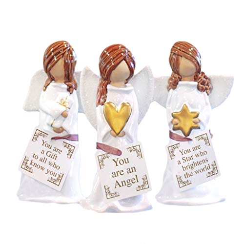 Elanze Designs Angels Gift Star Glossy White 5 inch Handpainted Clay Ornaments Set of ()