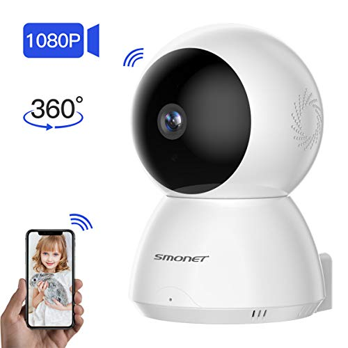 【2019 New】 SMONET Wireless IP Camera,1080P WiFi Home Security Camera for Pet/Nanny/Elder/Baby Monitor with Pan/Tilt/Zoom,Night Vision,2-Way Audio,Motion Detection with Android iOS App